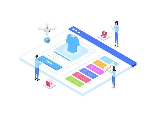 E-commerce catalog upload isometric illustration. suitable for mobile app, website, banner, diagrams, infographics, and other graphic assets.