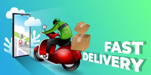 Концепция электронной коммерции быстрая доставка скутером на мобильный