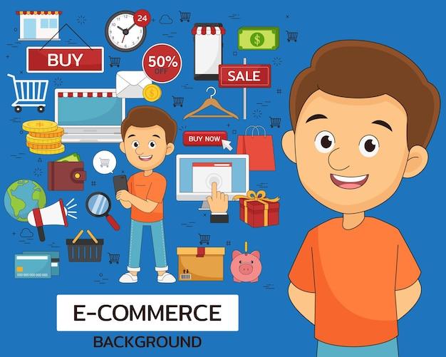 E-commerce concept . flat icons.