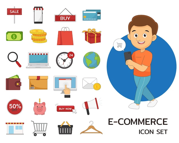 E-commerce concept flat icons