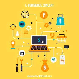 E-commerce concept with laptop and icons