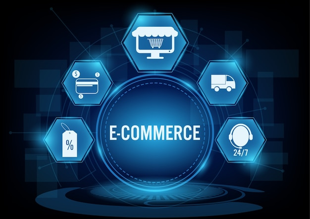 E-commerce concept with line icon