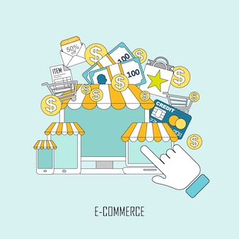 E-commerce concept with online store elements in thin line style