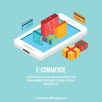 Концепция электронной коммерции с телефонами и элементами покупок