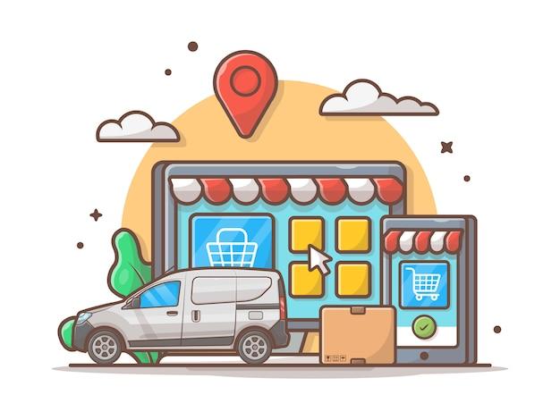 Eコマース配信アイコンイラスト。車とオンラインショップ、ビジネスとテクノロジーのアイコン白分離