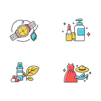 E commerce departments color icons set.