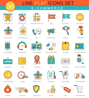 E-commerce flat line icons set