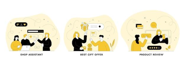 Набор плоских линейных иллюстраций электронной коммерции. продавец, лучший подарок, обзор товара. маркетинг в области сми. мобильное приложение. герои мультфильмов мужчин и женщин