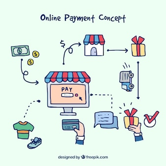 E-commerce, hand-drawn style