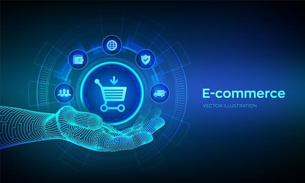 로봇 손에 전자 상거래 아이콘입니다. 인터넷 쇼핑. 온라인 구매. 장바구니에 담기