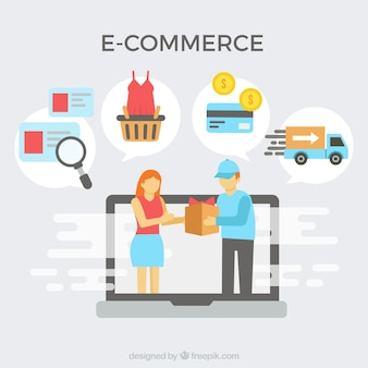 E-commerce icons and delivery