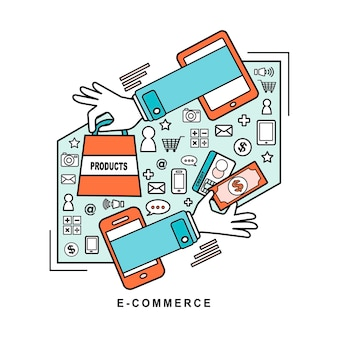 E-commerce ideas: buying product via online shop in line style