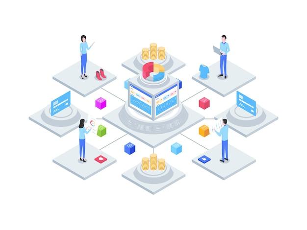 Электронная коммерция интегрированный бухгалтерский учет изометрической иллюстрации. подходит для мобильных приложений, веб-сайтов, баннеров, диаграмм, инфографики и других графических ресурсов.