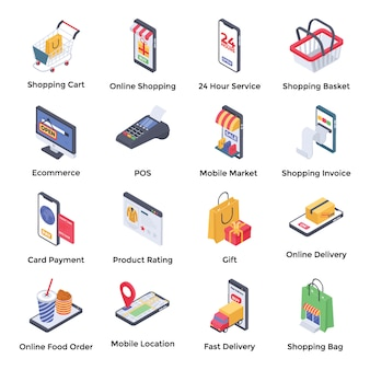 E commerce isometric icons