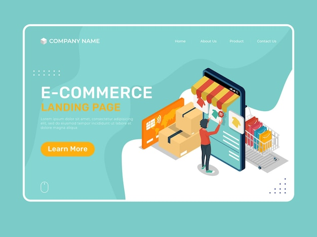 Иллюстрация целевой страницы электронной коммерции с мобильным телефоном