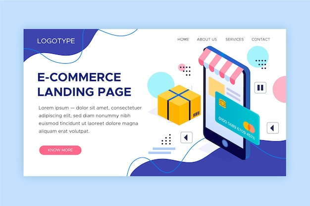 E-commerce landing page in isometric style