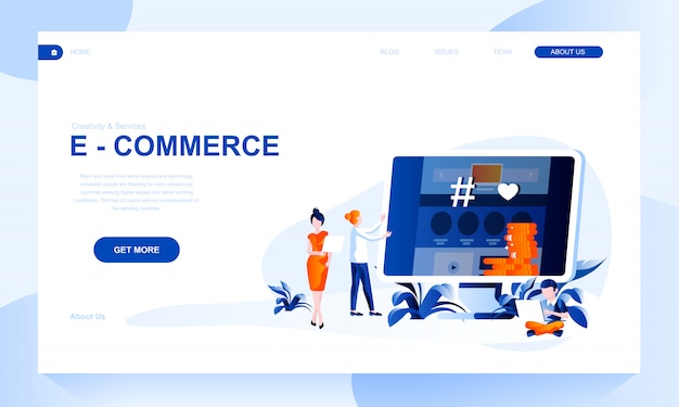 E-commerce landing page template with header