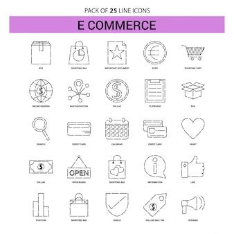 Набор значков электронной коммерции - 25 пунктирный стиль