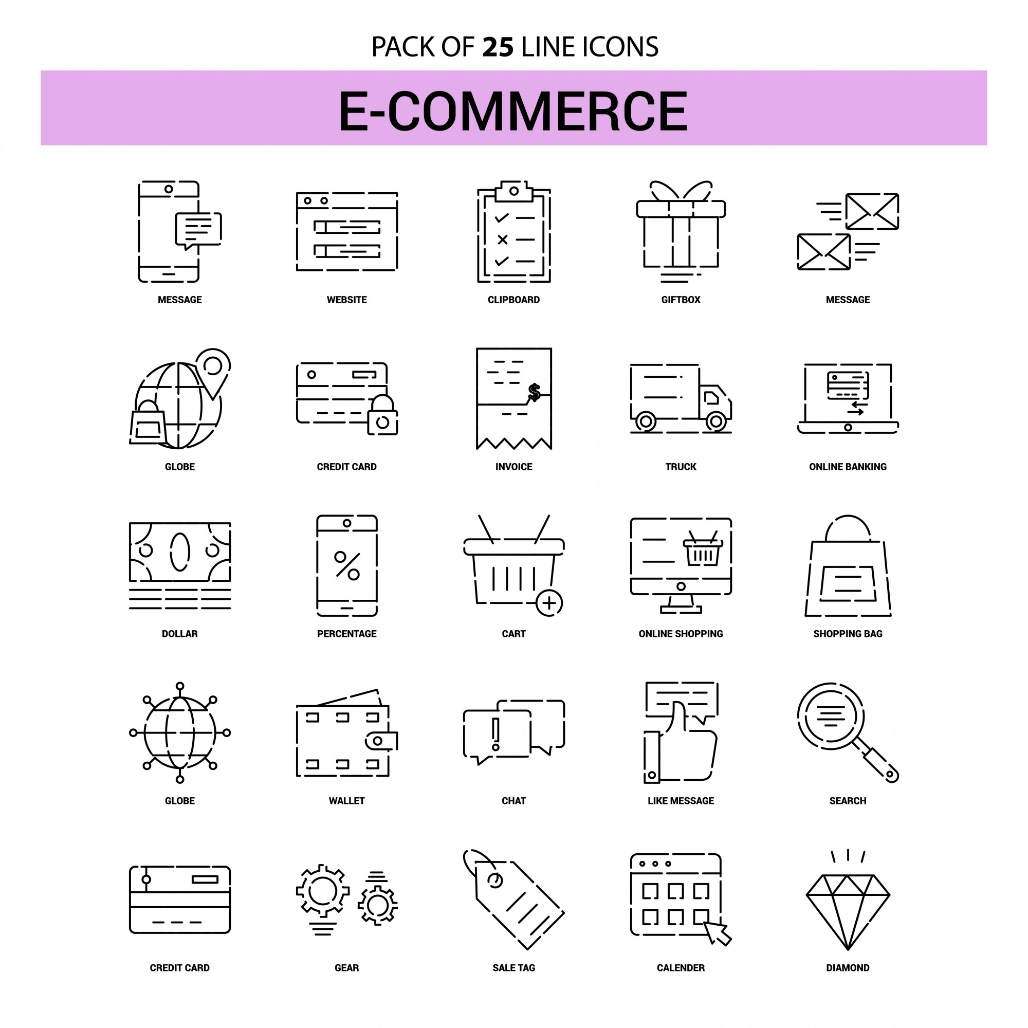 E-Commerce Line Icon Set - 25 Dashed Outline Style