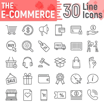 E commerce line icon set, online store symbols collection