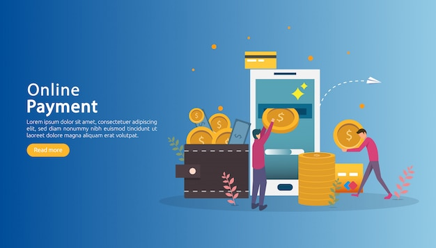 E-commerce market shopping online illustration with tiny people character