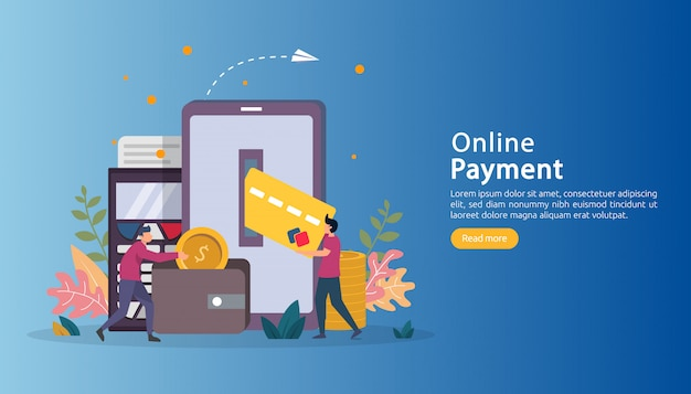E-commerce market shopping online illustration with tiny people character.