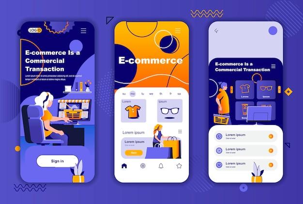 소셜 네트워크 스토리를위한 전자 상거래 모바일 앱 화면 템플릿
