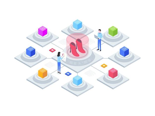 전자 상거래 옴니채널 아이소메트릭 그림. 모바일 앱, 웹사이트, 배너, 다이어그램, 인포그래픽 및 기타 그래픽 자산에 적합합니다.