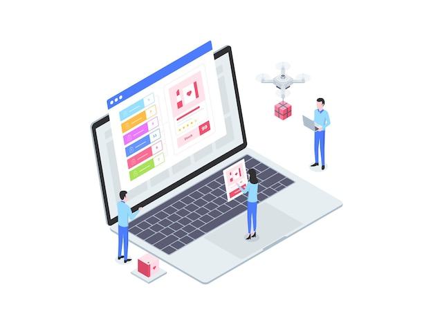 전자 상거래 옴니채널 주문 아이소메트릭 그림. 모바일 앱, 웹사이트, 배너, 다이어그램, 인포그래픽 및 기타 그래픽 자산에 적합합니다.