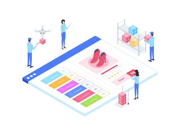 전자 상거래 옴니 채널 동기화 주식 아이소 메트릭 그림. 모바일 앱, 웹사이트, 배너, 다이어그램, 인포그래픽 및 기타 그래픽 자산에 적합합니다.