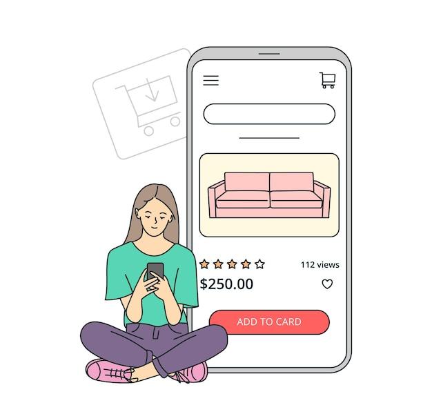 스마트 폰 개념에 전자 상거래. 젊은 여성이 온라인으로 전화를 통해 제품을 선택하여 구매합니다. 가구와 쇼핑 카트입니다.
