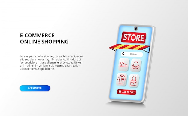 E-commerce and online shopping app on the 3d smartphone perspective with red outline fashion icon