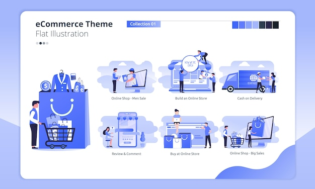 E-commerce or online shopping theme in a flat illustration