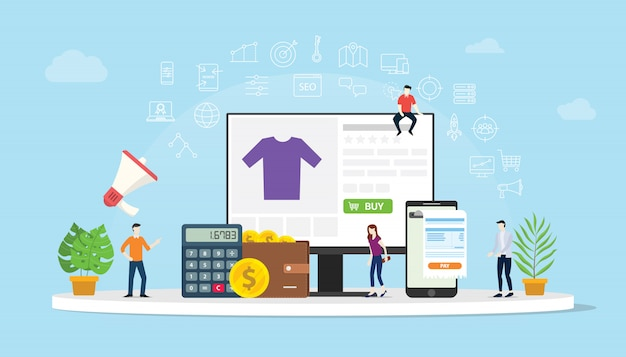 E-commerce online shopping with people buy