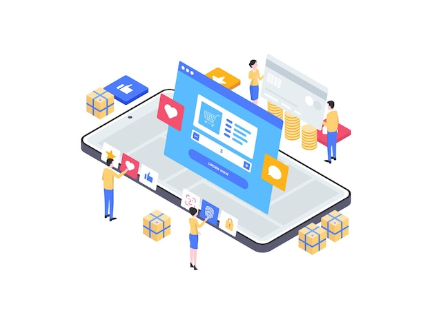 E-commerce order on mobile isometric illustration. suitable for mobile app, website, banner, diagrams, infographics, and other graphic assets.