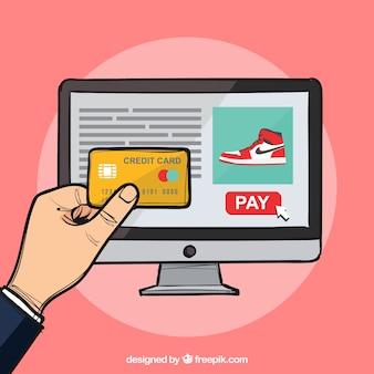電子商取引、ピンクの背景