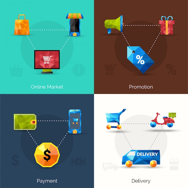 E-commerce polygonal icons