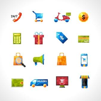 E-commerce polygonal icons