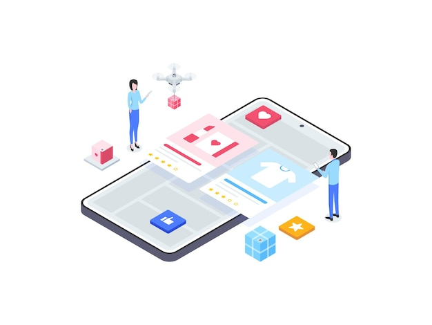 전자 상거래 등급 아이소메트릭 그림입니다. 모바일 앱, 웹사이트, 배너, 다이어그램, 인포그래픽 및 기타 그래픽 자산에 적합합니다.