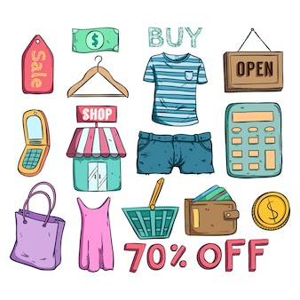 E commerce sale or discount icon collection with doodle style