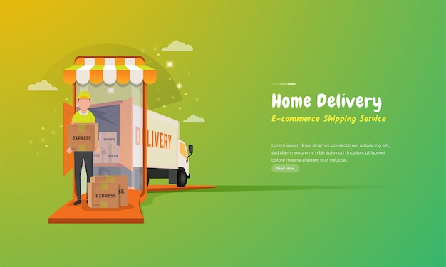 E-commerce shipping service, illustration of couriers sending packages