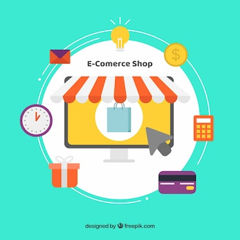 E-commerce shop and shopping icons