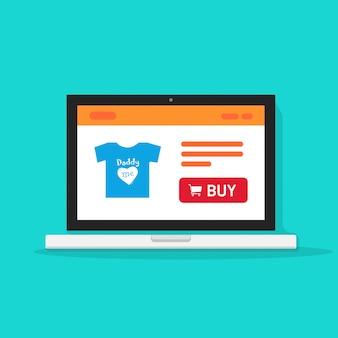 E-commerce shop or online store on laptop computer vector illustration flat cartoon