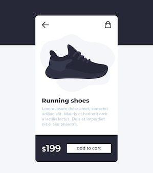 E-commerce and shopping mobile app design, buy shoes online vector
