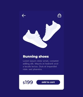E-commerce and shopping mobile app design, buy shoes online