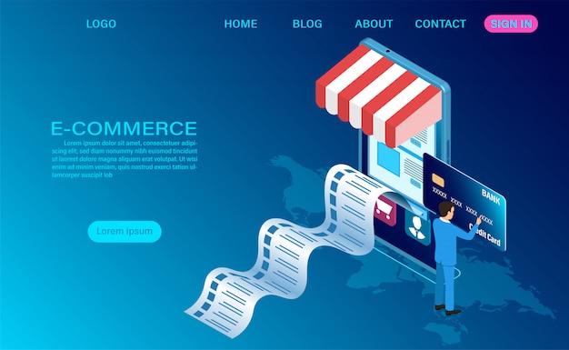 Электронная коммерция, покупки в интернете с мобильного телефона. 3d изометрический шаблон