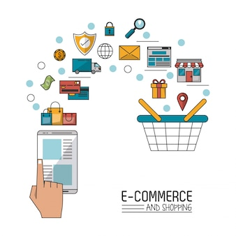 E-commerce and shopping with smartphone and process add to shopping cart