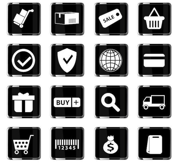 Векторные иконки электронной коммерции для дизайна пользовательского интерфейса