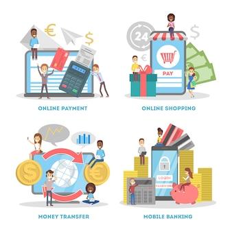 전자 상거래 웹 배너 세트. 온라인 쇼핑 및 모바일
