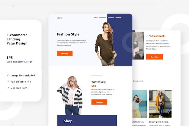 E-commerce web landing page design